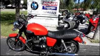 10. 2013 Triumph Bonneville in Orange at Euro Cycles of Tampa Bay