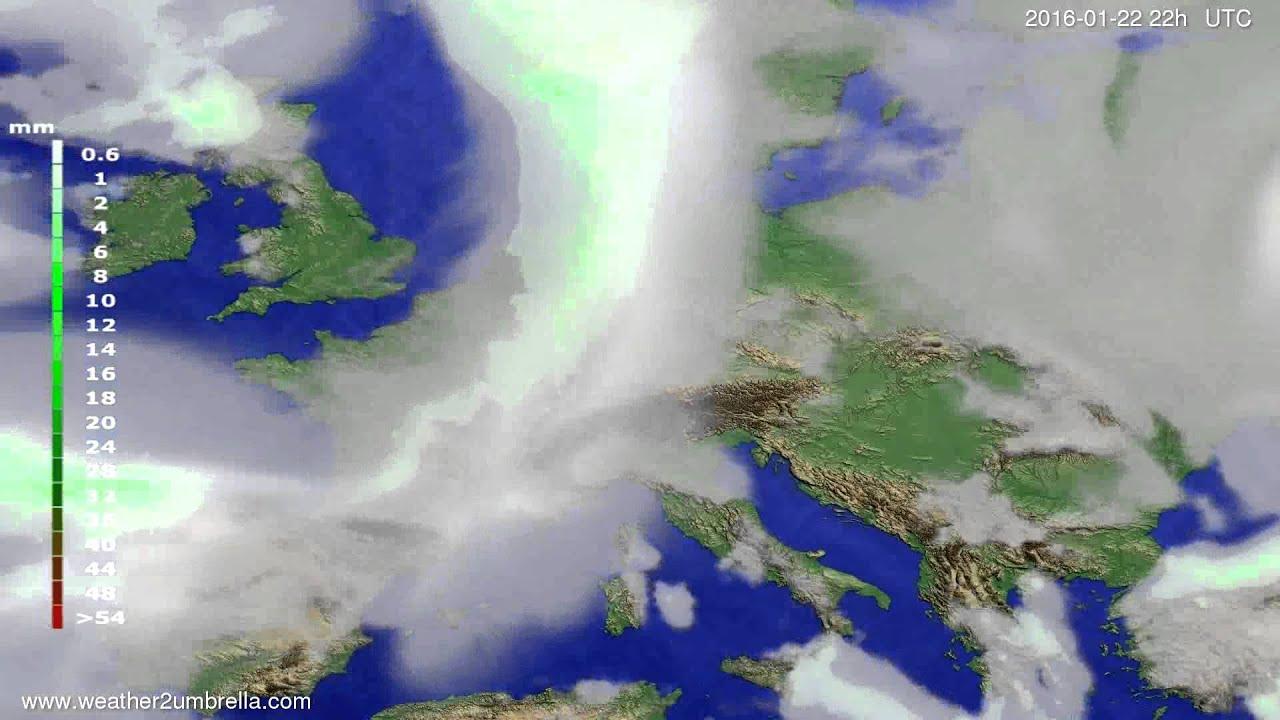 Precipitation forecast Europe 2016-01-20