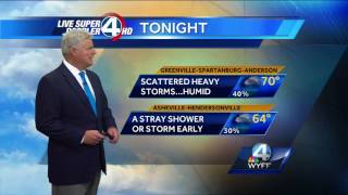 Scattered Storms TonightSubscribe to WYFF on YouTube now for more: http://bit.ly/1mUvbJXGet more Greenville news: http://www.wyff4.com/Like us: http://www.facebook.com/WYFF4Follow us: http://twitter.com/wyffnews4Google+: https://plus.google.com/+wyffnews4