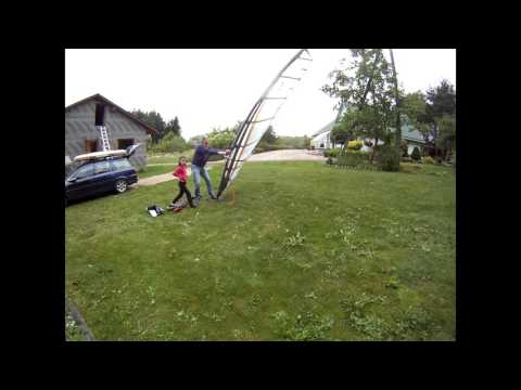 Poor man windsurfing rig ( repaired mast test )