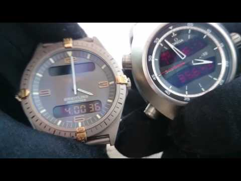 Breitling Navitmer Vs Omega Z-33 Watch Display Comparison
