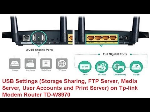 USB Settings(Sharing, FTP Server, Media Server, Accounts and Print) Tp-link Modem Router TD-W8970