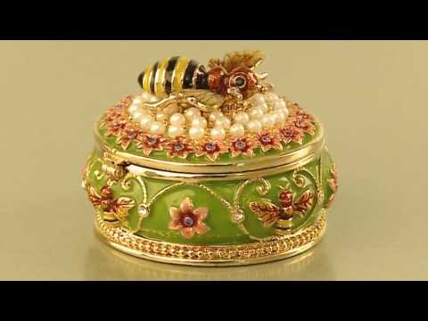 Faberge style Trinket Box with Bee by Keren Kopal Swarovski Crystal