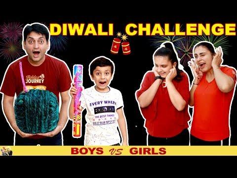 DIWALI CHALLENGE Girls vs Boys #Funny #Family Green Crackers  Aayu and Pihu Show