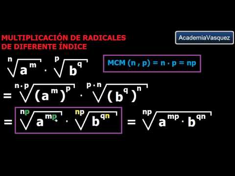 raíces con diferentes índices - Explicación de la multiplicación de radicales con diferente índice y ejemplos prácticos. Hecho por AcademiaVasquez. Página web: http://www.academiavasquez.co...