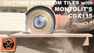 """https://www.homerepairtutor.com/cutting-bathroom-tiles-with-montolits-cgx115/Cutting bathroom tiles with an angle grinder and Montolit's CGX115Buy the CGX115 via Christopher McNeeley at https://www.facebook.com/christopher.mcneeleyContact Ken Balin in New Jersey if you need a great tile setterhttps://www.facebook.com/ken.ballin.750When cutting bathroom tiles with an angle grinder make sure the RPM rating for the blade is higher than that for the grinder. For example, the CGX115 has an RPM rating of 13,300 and the WSG7-115 Fein angle grinder has an RPM rating of 12,500.  Also, install the CGX115 the correct way. There's an arrow on most angle grinders that indicates the spin direction. Align the arrow on the CGX115 with the arrow on the angle grinder. As mentioned in the video, there's a break in period for the CGX115. Make several cuts on scrap pieces of tile or even a cinderblock to break it in. This will help the blade make smoother cuts in the tile you're setting. In addition, wear safety gear when using an angle grinder, e.g. ear protection, respirator, goggles, etc. The CGX115 is for 4.5"""" angle grinders but Montolit makes it for 4 and 5 inch models as well. The cost is about $50 and well worth it. Watch our video for all the detailshttps://youtu.be/KNiTjyAc3aIThanks for checking out our YouTube channel.  Have an awesome day."""