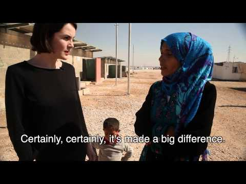 Michelle Dockery meets Syrian refugees in Jordan