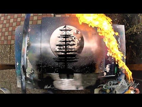 SPRAY PAINT ART -  Black'n' White Ship