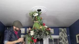 Rebecca Robeson Inspired -  Christmas Chandelier  - How To Decorate A Chandlier