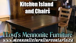 Mennonite Pine Kitchen Island and Chairs