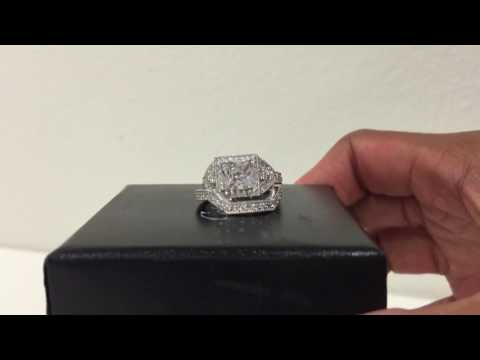 Caperci Sterling Silver Princess Cut Cubic Zirconia Halo Wedding Engagement Ring Set