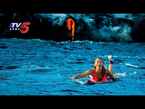 Woman Dangerous Adventure | Alison Teal goes Surfing Around Erupting Kilauea Volcano