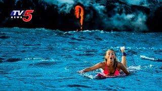 Woman Dangerous Adventure   Alison Teal goes Surfing Around Erupting Kilauea Volcano