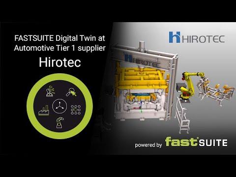Le jumeau numérique d'une cellule de fabrication d'une usine de fabrication de portes implantée chez le fournisseur japonais HIROTEC.