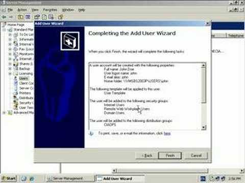 Adding a user to Small Business Server 2003