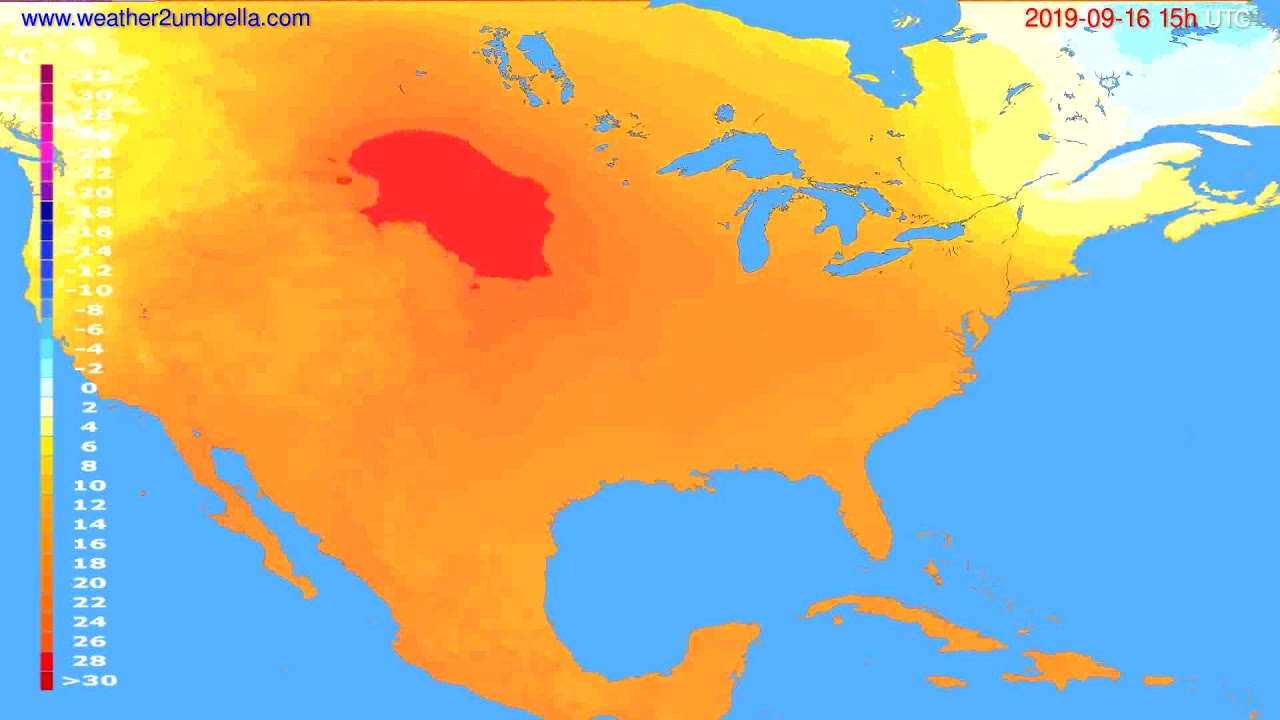Temperature forecast USA & Canada // modelrun: 12h UTC 2019-09-13