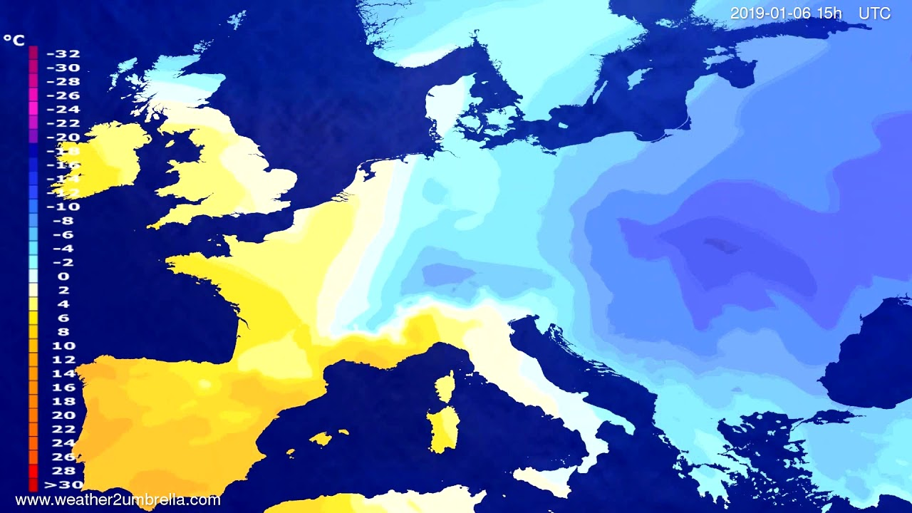 Temperature forecast Europe 2019-01-03