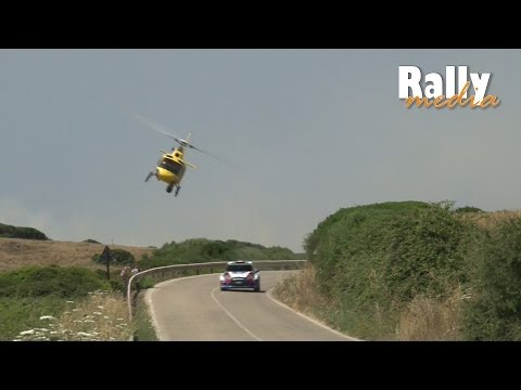 Kubica vs. TV helicopter @ Power stage WRC Rally Italia Sardegna 2014