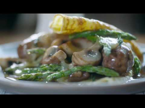 French Crepe With Asparagus, Mushrooms, Italian Sausage, And Cheddar
