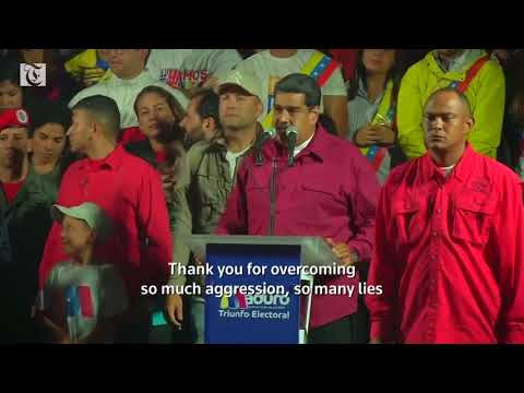 Venezuela's Maduro celebrates after being declared winner of presidential election