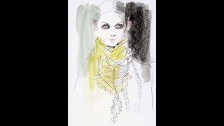 #kiranoviski رسم الفساتين بالزراير و اللولي -how to draw fashion with buttons  일상  , 基礎  ファッションショー