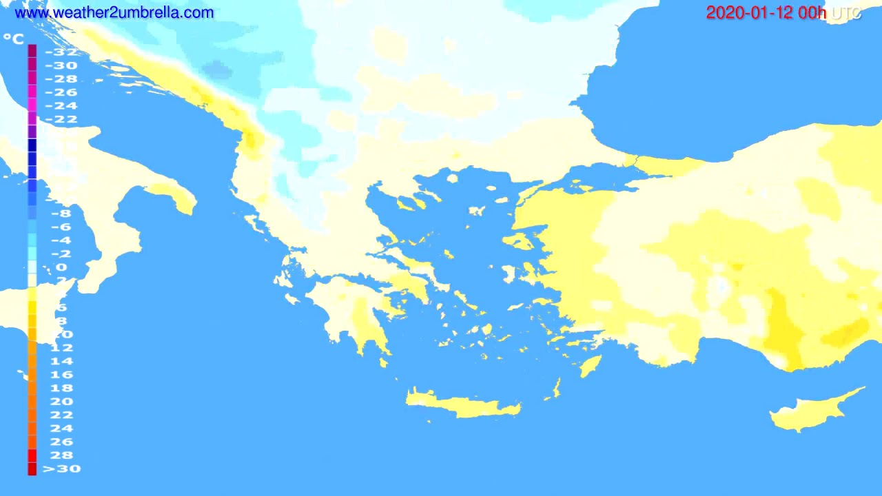 Temperature forecast Greece // modelrun: 00h UTC 2020-01-11