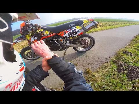 KTM 620 100kmh wheelie fail || Husqvarna 701 vs Honda hornet || Supermoto lifestyle