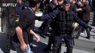 Police and protesters battled outside a campaign rally for far-right Front National leader Marine Le Pen, in Ajaccio, Corsica. COURTESY: RT's RUPTLY video ...