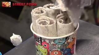Best Ice Cream Roll Vanilla Chocolate Brownie, Oreo Cookie,Caramel | Street Food Dessert Video