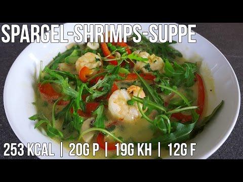 Spargel-Shrimps Suppe | Kalorienarmes Diät Rezept
