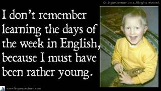 Days of the Week, Learn English Vocabulary, Meanings of English Days, Linguaspectrum Vocabulary Less