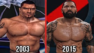 The evolution of Batista in WWE Games with his entrances, signature moves & finisher from here comes the pain to his last WWE Games appearance in WWE 2K16.   Subscribe to Bestintheworld https://goo.gl/bh0dMlFollow me on Twitter https://goo.gl/g2hpKr