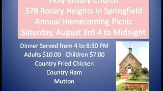 Holy Rosary Church Picnic is Saturday, August 3, 2013
