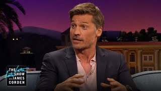 """James asks Nikolaj Coster-Waldau about Kit Harrington's idea that the """"Game of Thrones"""" cast gets matching tattoos when the..."""