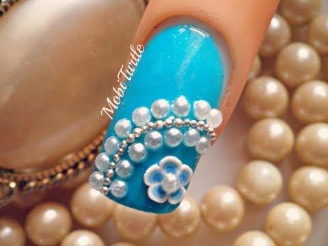 nail art - fiore blu