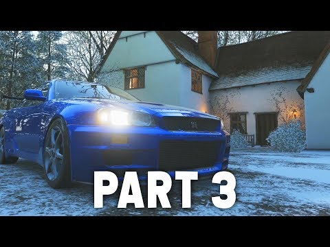Forza Horizon 4 Gameplay Walkthrough Part 3 -  WINTER & UNLOCKING SKYLINE R34 / Rocket Bunny 350z