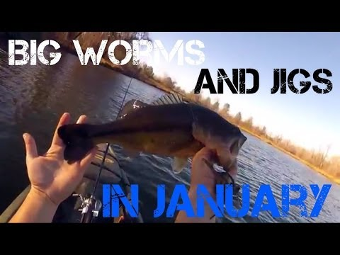 Bass Fishing- Big Worms and Jigs in January (2014)