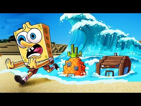Minecraft   TSUNAMI VS SPONGEBOB BASE! (Tsunami Bikini Boottom Challenge)