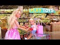 Barbie Doll Supermarket Shopping Chelsea Baby Dolls! Play Barbie Girl Grocery Shop toys! Play Dolls!