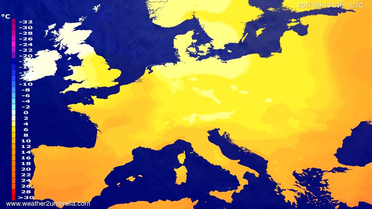 Temperature forecast Europe 2017-09-10