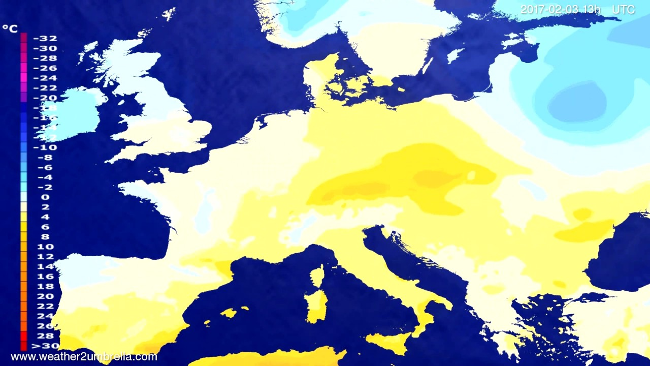Temperature forecast Europe 2017-01-31
