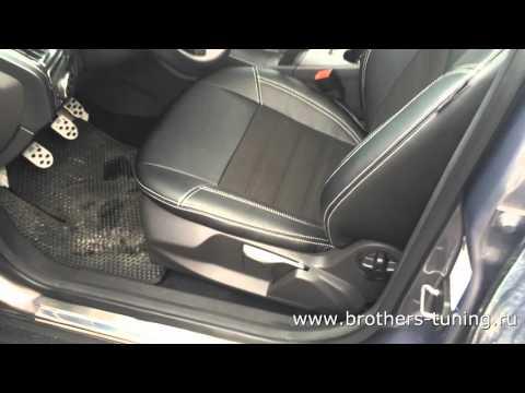 """Чехлы на Ford Focus 3 Trend Sport, серии """"Alcantara"""" - серая строчка"""