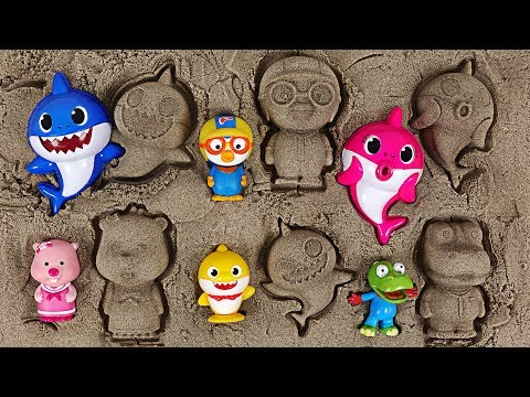 Baby Shark family, Pororo sand Play set! What should we make out of sand? - PinkyPopTOY