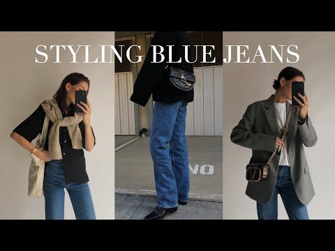 10 WAYS TO STYLE BLUE JEANS | Spring/Summer and Autumn/Winter Outfit Inspiration видео