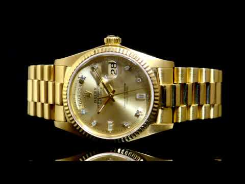 Men's 18k Yellow Gold Rolex Day-Date Automatic Wristwatch with Diamond