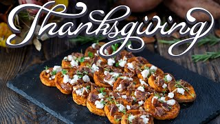 Thanksgiving Side Dishes - Roasted Sweet Potatoes with Goat Cheese and Candied Bacon by Home Cooking Adventure