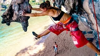 Climbing Beauty and the Beast Tonsai - Jump to a stalactite by Day In Nature