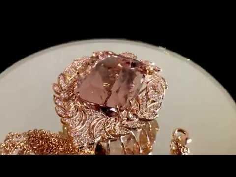 14k Rose Gold 37.83ct Pink Morganite & VS Diamonds Necklace