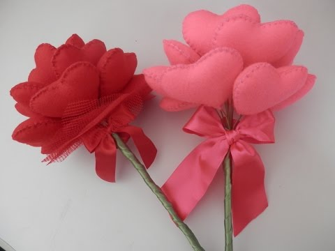 bouquet di cuori in feltro