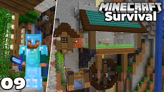 Let's Play Minecraft Survival : Villager CLIFF HOUSE and ENCHANTED ARMOR! Episode 9